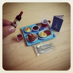 Ratatouille & Pasta, Cheese & Proscuitto, French Bread & Raisin Danish Pastry, Berry Tarte, Red Wine (from Re-ment) #miniatures #miniature #rement by audkawa, via Flickr