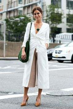 spring / summer - fall / winter - street style - chic street style - casual outfits - fashion week - summer outfits - business casual - work outfits - office wear - white long sleeve wrap maxi dress + brown culottes + brown suede stilettos + green necklace + green suede hobo bag