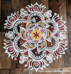 Simple Rangoli Border Designs, Indian Rangoli Designs, Rangoli Designs Latest, Rangoli Designs Flower, Free Hand Rangoli Design, Small Rangoli Design, Colorful Rangoli Designs, Mehndi Art Designs, Beautiful Rangoli Designs