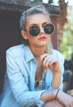 love photography pretty beauty hair girl cute Black and White perfection happy fashion beautiful summer face style hipster indie Model lady lips blonde blue sun nails glasses stoned sunglasses woman denim shirt catariina's trash Ray Ban Sunglasses Sale, Sunglasses Outlet, Sunglasses Online, Sunglasses 2016, Sports Sunglasses, Vintage Sunglasses, Discount Sunglasses, Oversized Sunglasses, Clubmaster Sunglasses