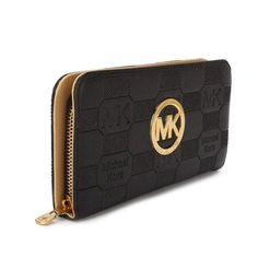 Michael Kors Logo Signature Large Black Wallets