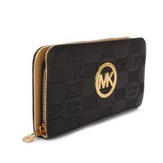 Michael Kors Logo Signature Large Black Wallets
