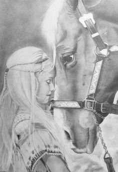 Mädchen mit Pferd mit Bleistift auf A3 gezeichnet  Drawing of a girl with her horse. Done in graphite.