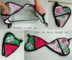double hearted potholder