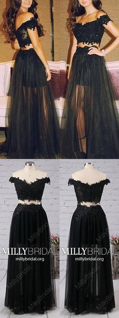 Long Prom Dresses Two Piece,Black Formal Evening Dresses A-line,Modest Pageant Party Dresses Off-the-shoulder,Simple Military Ball Dresses Tulle #MillyBridal #twopiece #blackdress #promdresses