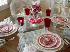 party table setup with red glass