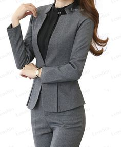 May 2019 - Women's Jacket and Trousers Suit Set Formal Elegant for Office Business Work Office Uniform For Women, Work Wear Office, Office Outfits Women, Casual Work Outfits, Blazer Outfits, Casual Wear, Formal Jackets For Women, Formal Pants Women, Formal Wear Women