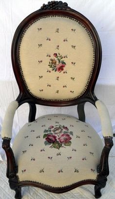 94: Choice Victorian Needlepoint Gentleman's Arm Chair : Lot 94