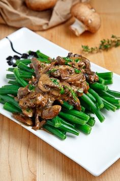 Green Beans in a Creamy Mushroom Sauce ~ A quick and easy stove top side dish of green beans in a creamy mushroom sauce