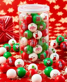 Fill up your gumball machine or candy bowl with the tasty treats in this Emoticon Gum Tub. Everyday is full of colorful gumballs with fun facial expressions. Christmas Sweets, Christmas Gifts For Women, Christmas Images, Christmas Themes, Holiday Decor, Holiday Cookies, Holiday Treats, Holiday Parties, Candy Bowl