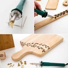 Bonito ejemplo de pirograbado en madera
