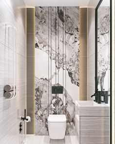 Apartment in Baku_A on Behance Washroom Design, Bathroom Tile Designs, Toilet Design, Bathroom Design Luxury, Modern Bathroom Design, Bath Design, Bathroom Design Inspiration, Apartment Interior Design, Studio Interior