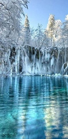 Plitvice Lakes, Croatia. I've been here in the summertime but winter looks even more impressive!