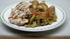 Eén - Dagelijkse kost - gegrilde kalkoenlapjes met snijboontjes  en aardappelen