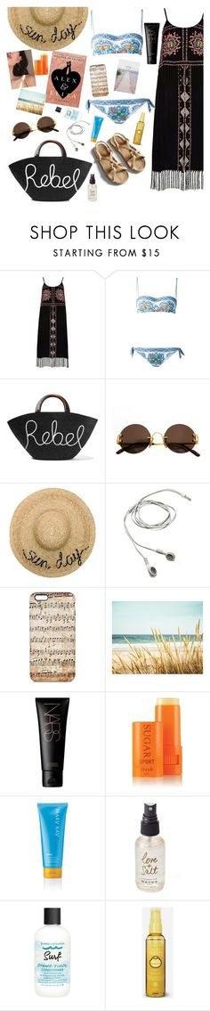 """fun in the sun"" by elliewriter ❤ liked on Polyvore featuring River Island, Dolce&Gabbana, Eugenia Kim, Cartier, Totême, NARS Cosmetics, Fresh, Olivine, Bumble and bumble and Sun Bum"