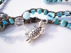 Turquoise Czech Glass Crochet Wrap Bracelet with by RopesofPearls