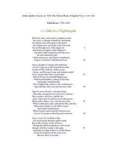 A comparison of wordsworths intimations of immortality and keats ode to a nightingale