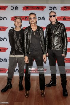 Martin Lee Gore, Dave Gahan and Andrew Fletcher of Depeche Mode for a press event on October 11, 2016 in Milan, Italy.