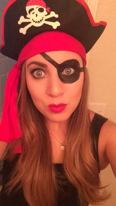 DIY Pirate makeup for my Halloween costume! Line your eyes with eye liner, including water line. Then add black paint around eye with a small makeup brush. Super easy!