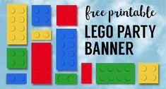 Lego Banner {Lego Party Printables}. DIY Lego party ideas. Fun, easy lego theme decor for lego birthday or baby shower decor. #papertraildesign #legoparty #legopartyideas #legopartydecor