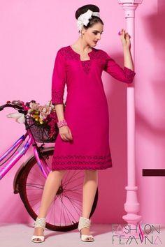 Dark Pink Cotton Casual Short Kurti  #kurti, #casual kurti, #red kurti, #cotton kurti, #short kurti #kurti online, #online shopping kurti, #women fashion, #stylish kurti, #casual wear, #party wear kurti