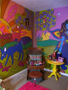 All I can say is.. WOW! Colourful, mesmerizing. Even though probably for a child's room, it is cool enough for an adult space too! Very neat! Love the style!