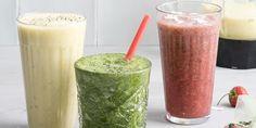 Een snelle en slimme manier om smoothies te maken: als je�de (gesneden) ingredi�nten van je favoriete smoothies per glas in zakjes invriest, maak je in een handomdraai een heerlijk glas met sap. Zo maak je het: drie keer smoothie (voor 1 glas) Dit zijn de smoothies op de foto, van links naar rechts: met mango,�
