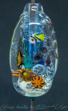 Lampwork glass bead with fish murrine Facebook Sign Up, Snow Globes, Glass Beads, Fish, Bottle, Handmade, Hand Made, Crystal Beads, Flask