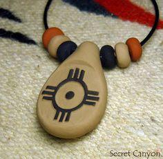 Clay Zuni Zia Sun Southwestern Tribal Primitive by SecretCanyon, $9.95