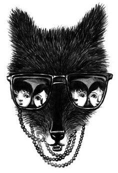 Wolf in Grandma's pearls! By Joanna Hellgren