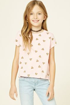 Forever 21 Girls - A knit tee featuring an allover pizza print, short sleeves, and a round neckline. (11-12)