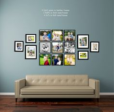 fun ways to display photos of your family living room wall over sofa collage picture