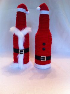 Yarn Covered Recycled Beer Bottle Santa Clause by JSStringDesigns