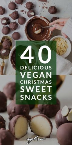 These sweet snacks and desserts are egg and dairy free totally vegan! From vegan Christmas brownies to vegan peppermint cookies. Theyll make the holiday season unforgettable. Vegan Treats, Vegan Foods, Vegan Snacks, Vegan Desserts, Dessert Recipes, Dessert Ideas, Delicious Desserts, Vegan Christmas Cookies, Christmas Brownies
