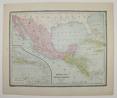 Mexico Cuba Central America Map Antique 1888 Original Old Vintage Map Caribbean Islands Travel Gifts Under 20 Gifts for Anniversary Home by OldMapsandPrints