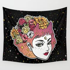 Floral Venus Wall Tapestry by MIKART | Society6