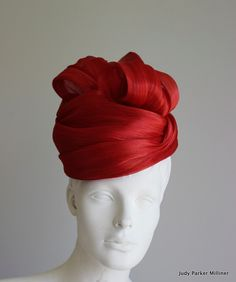 ON SALE!!!!!  Red Turbanesque by JudyParkerMilliner on Etsy