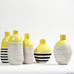 Ooooo, I would love to order these, but the website is in French! <3 These hand made chartreuse, black & white ceramics are tre magnifique!! They would make such the happy little home for any fresh picked flower!