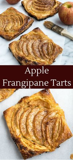 Apple tarts made with puff pastry and a layer of frangipane. Apple Frangipane Tarts www.cooksandkid.com