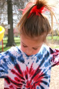 Use red and blue dye to create patriotic masterpieces. Complete instructions on how to die-tye shirts can be found here.