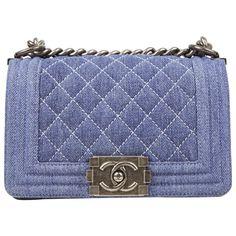 c6fa8c12461916 Preloved Chanel Small Quilted Blue Jean Denim Le Boy CrossBody Bag SHW