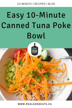 Revitalizing your typical tuna lunch with this poke-inspired canned tuna bowl with sesame lemon dressing 🤤. Best part? If you've got leftover rice, this meal comes together in minutes!    #recipe #easymeal #easyrecipe #cannedtuna #pokebowl #lunchrecipe #leftoverrice Meal Ideas, Dinner Ideas, Lunch Recipes, Healthy Recipes, Tuna Poke, Leftover Rice, Poke Bowl, Cooking For One, Nutrition Tips