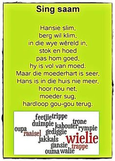 Rhyming Words For Kids, Kids Poems, Children Songs, Toddler Learning Activities, Kids Learning, Preschool Church Crafts, Animals Name In English, Afrikaans Language, Storybook Party