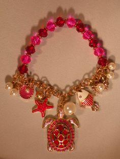 jewelry, red, starfish, fish, pearl, ocean life, bracelet  Visit:  http://www.gladisparkle.com