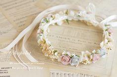 アンティークブルーグレー×ベージュローズ シンプル 花冠 商品詳細 花冠やウェルカムボードなど手作りで制作します ウェディングのお店 Cocochi Mille