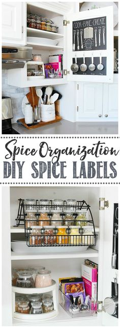 Great tips and tricks to keep your spices organized and the best ways to keep them fresh. Cute DIY spice labels.  #homeorganization #getorganized #kitchenorganization #spices #spicejars #spiceorganization