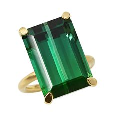 Green Tourmaline Gold Ring | From a unique collection of vintage cocktail rings at https://www.1stdibs.com/jewelry/rings/cocktail-rings/