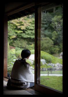 contemplating a  Japanese garden