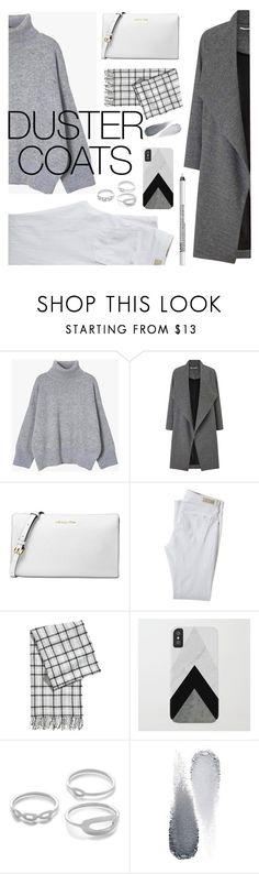 """""""Get the look. Duster Coat."""" by artbyjwp ❤ liked on Polyvore featuring Miss Selfridge, Michael Kors, AG Adriano Goldschmied, Clé de Peau Beauté and NYX"""