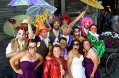 Wedding party photo booth fun